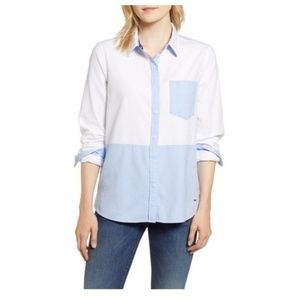 Vineyard Vines Relaxed White And Blue Oxford Sz 10